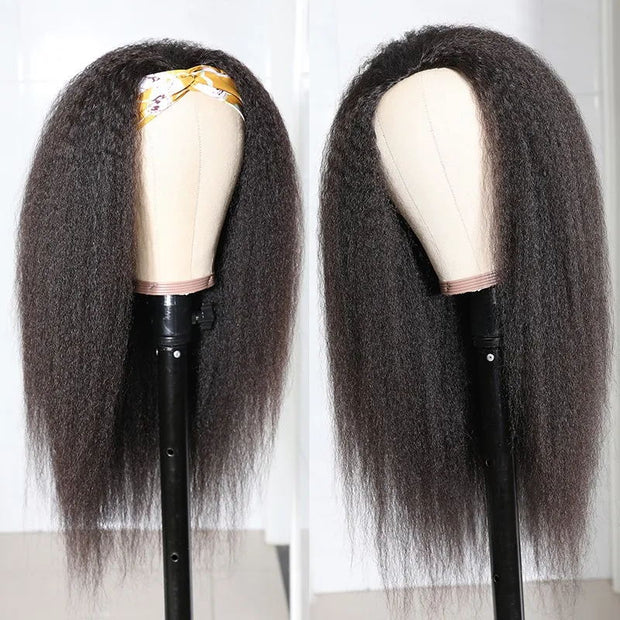 Sunber High-Quality Kinky Straight Human Hair Half Wigs For Women Glueless Wigs with Random Gift Headband