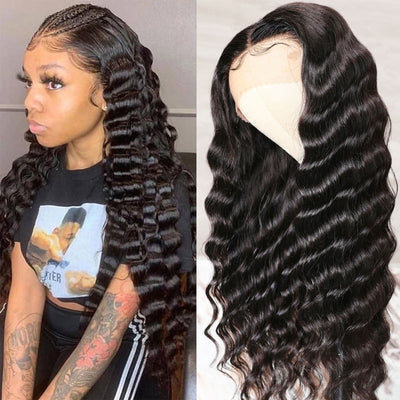 Sunber Straight T Part 13x5x0.5 Lace Front Human Hair Wig Middle Part Unprocessed Hand Tied Lace Part Wig 150% Density