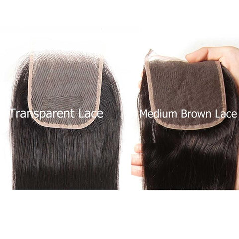 Sunber Hair Straight Hair 4 Bundles With 4*4 Transparent Lace Closure, 100% Human Virgin Hair Bundles