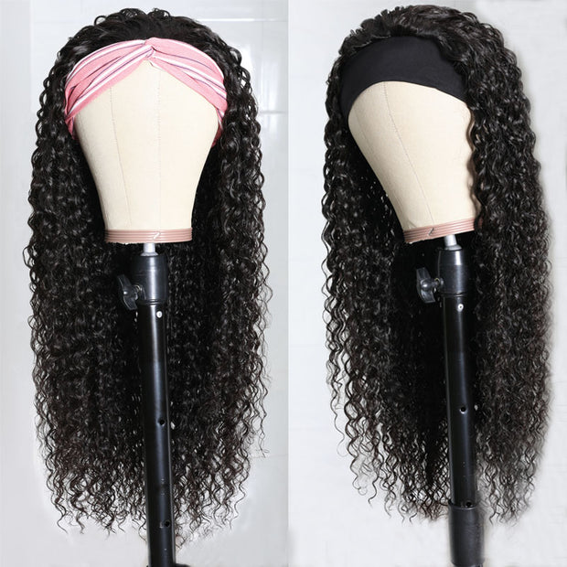 Sunber 180% Density Jerry Curly Scarf Wigs for Women 100% Virgin Human Hair Wig No Glue & No Sew In Fashion Headband Wig