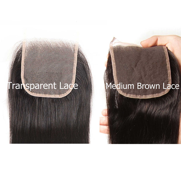 Sunber 1 Bundle 4*4 Transparent Free Part Lace Closure Straight Hair
