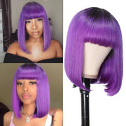 Sunber T1B/Purple Ombre Bob Wig with Dark Roots Short Straight Human hair with Bangs Machine Made Human Hair Wig