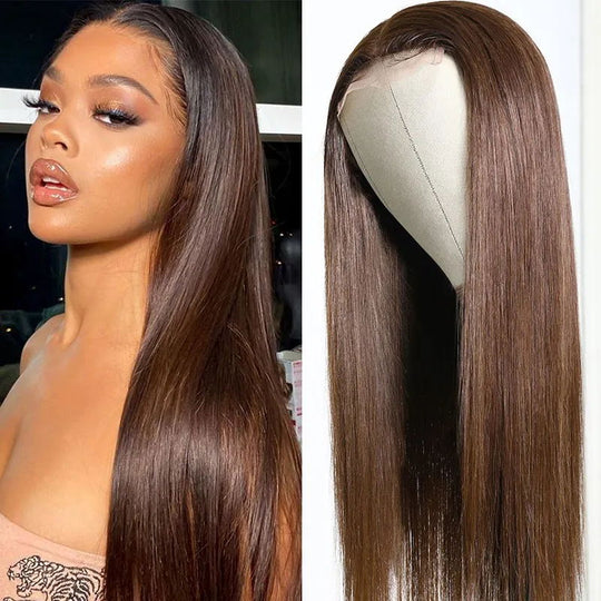 Sunber #4 Chestnut Brown Color Straight Human Hair Wigs Hand Tied Lace Part Wig 150% Density