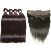 Brazilian Straight Hair 4 Bundles with 13*4 Lace Frontal, 7A Grade Virgin Hair - Sunberhair