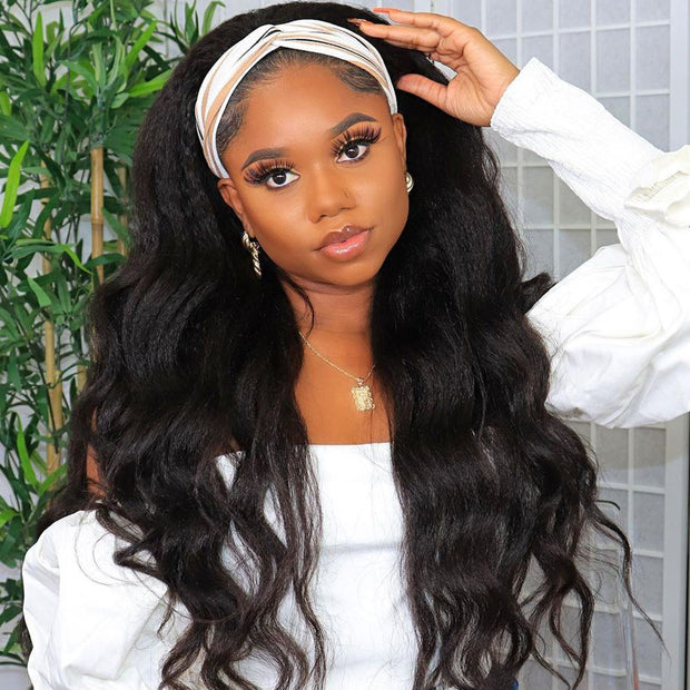 Sunber Body Wave Scarf Wigs 150% Density 100% Virgin Human Hair Wig No Glue & No Sew In Fashion Headband Wig