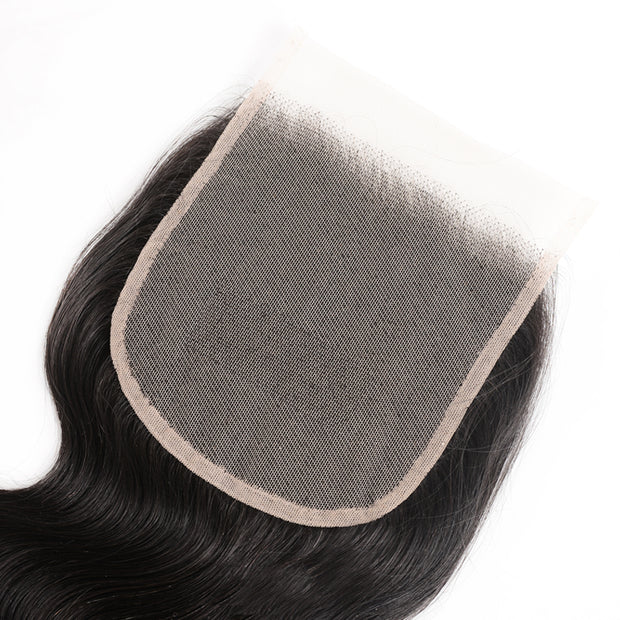 Body Wave Virgin Hair Weave 3 Bundles With Transparent 5*5 Closure