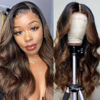 Sunber Shadow Root Highlight Blonde Balayage Color Body Wave Lace Front Wigs