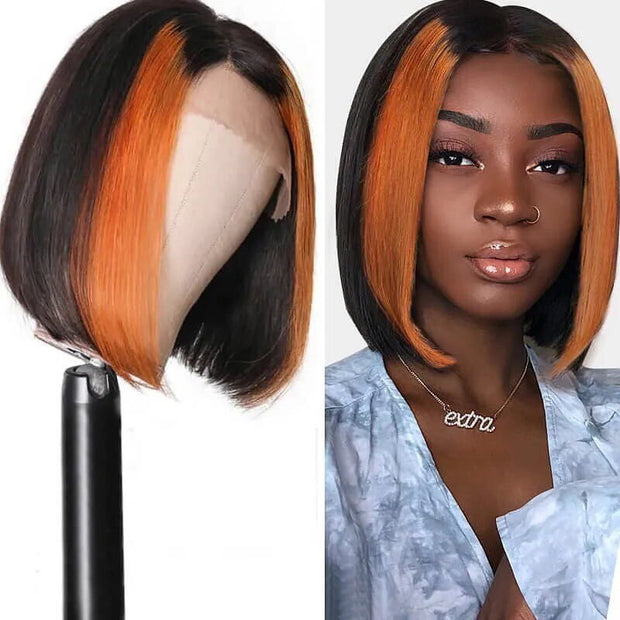 Sunber 13*4 Highlight Lace Front Human Hair Wigs TL1B30 Omber Straight Bob Lace Wig 150% Density