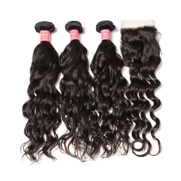 Brazilian Natural Wave Hair Bundles 4 Bundles with Lace Closure, Unprocessed 7A Affordable Brazilian Hair - Sunberhair