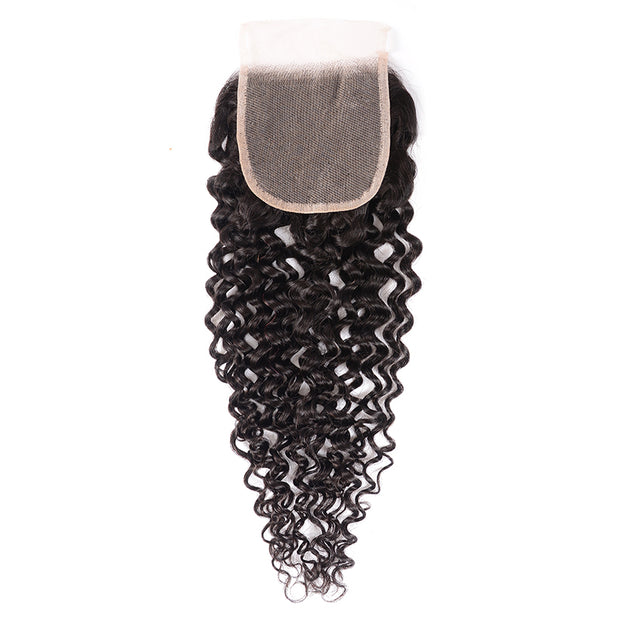 Sunber 1 Bundle 4*4 Transparent Free Part Lace Closure Curly Hair