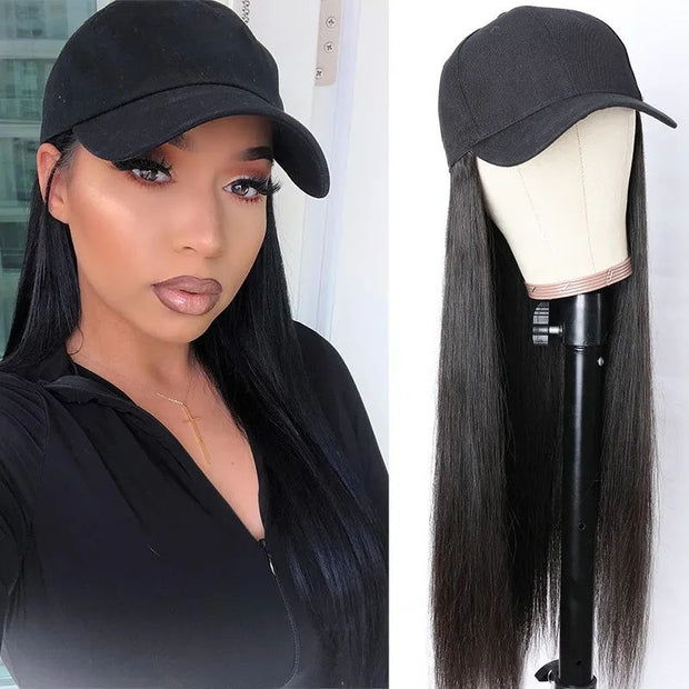Sunber Baseball Cap Wig Silky Straight Long Style Human Hair Wig with Adjustable Black Baseball Hat Classic Straight Hair Wig