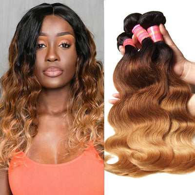 Sunber Hair Ombre Brazilian Body Wave Virgin Hair 3/4 Bundles T1B/4/27 Color 100% Human Hair Weave
