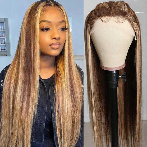 Sunber Blonde Highlight Straight Human Hair Wigs Hand-Tied Three Part Lace Wigs with Baby Hair 150% Density