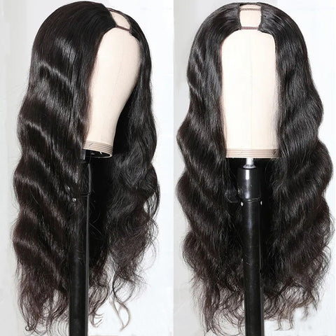 Sunber Chic U Part Hair Wigs‎ Body Wave 150% Density Glueless Human Hair Wigs Natural Color For Women Free Shipping