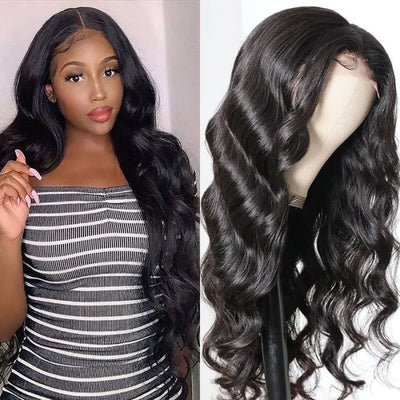 Sunber 4x4 Lace Closure Part Wig With Baby Hair Body Wave Natural Color 150% Density Hand Tied Lace Part Line Realistic Wigs