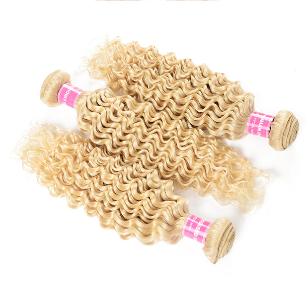 Sunber 3 Bundles 613 Blonde Deep Wave Hair Weave 10-24 Inch On Sale