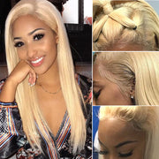 Sunber Hair 613 Blonde Color Lace Frontal Wigs Pre Plucked Straight Human Hair Wigs Virgin Human Hair Wig 130% 150% Density