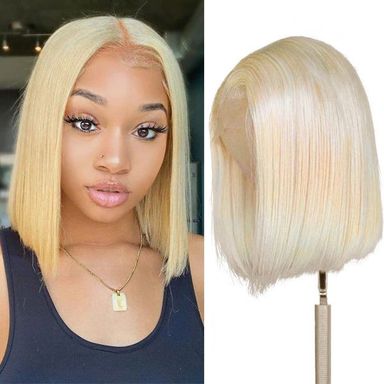 Sunber 613 Blonde Color Straight Bob Wig 100% Human Hair For Women 13 By 4 and 13 By 6 Lace Front Wigs 150% Density Human Hair Wigs