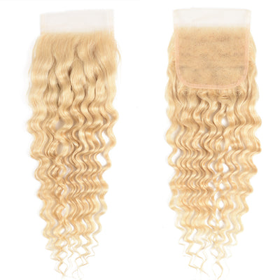 Sunber 613 Color Human Hair 4*4 Lace Closure Deep Wave Closure