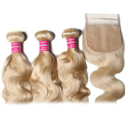Sunber Hair 3 Bundles 613 Blonde Body Wave Human Hair Weaves With 4X4 Lace Closure