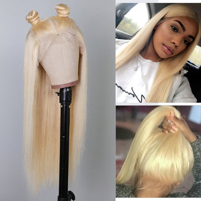 Pure 613 Blonde Straight Lace Front Wigs With Baby Hair Free Part, 100% Remy Human Hair