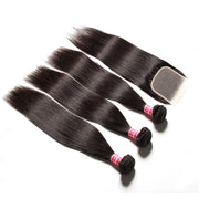 Sunber Hair 3 Bundles Straight Hair With 4*4 Transparent Lace Closure