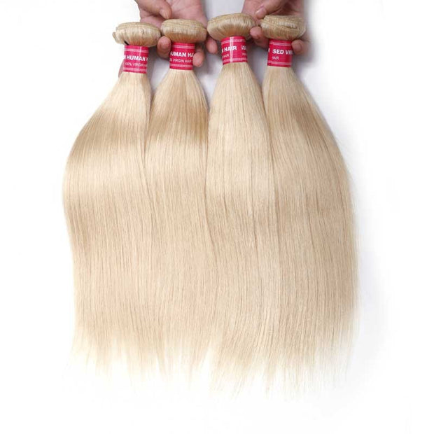 Sunber Hair Blonde 613 Hair Weave 4 Bundles Straight Hair Virgin Human Hair Weft