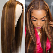 Sunber Ombre Mixed Highlight Brown #427 Color 13 By 4 Lace Frontal Wigs Straight Pre Plucked Hairline Human Hair Wigs