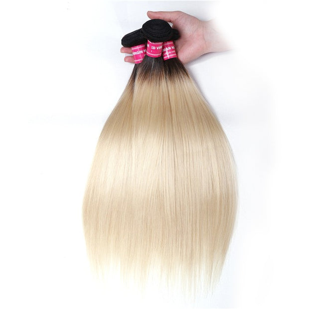 Sunber Hair Straight Hair 3 Bundles T1b/613 Color Ombre Hair 100% Virgin Human Hair Weaves