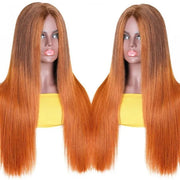 Sunber Orange LT430 Colored Human Hair Wigs PU Silk Lace Fake Scalp Straight Wigs Middle Part Ombre Color Wigs