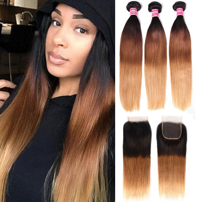 Sunber Hair Ombre Hair T1b/4/27 Color Straight Human Hair 3 Bundles with Lace Closure 100% Human Hair