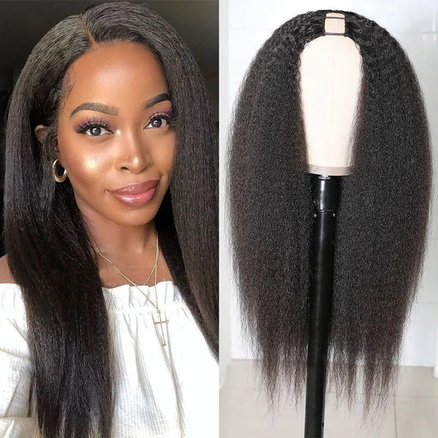 Sunber U Part Wig 100% Human Hair Wigs U-shaped Size 2x4 Size Kinky Straight Glueless Human Hair Wigs 200% Density