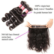 Virgin Malaysian Body Wave Hair 3 Bundles with 360 Lace Frontal - Sunberhair