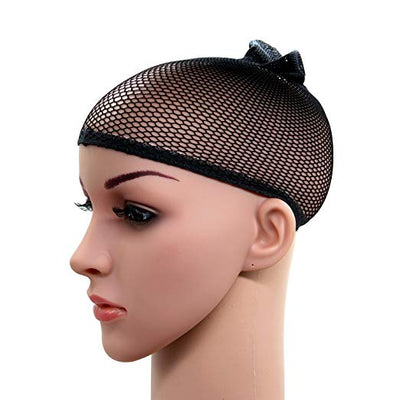 2 Pack Black Wig Caps with Thick and Strong Nylon Thread, Durable Mesh Net Fishnet Wig Cap with Close Dome, Perfect for Mermaid Makeup - Sunberhair
