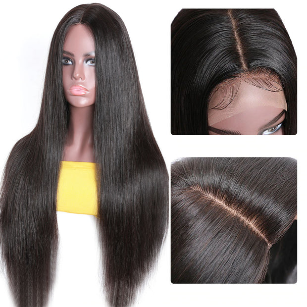 Sunber PU Silk Base Lace Wig Medium Part 4x2 Premade Fake Scalp Straight Human Hair Wigs Natural Color For Women