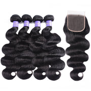 Sunber Hair Brazilian Body Wave Remy Human Hair 4 Bundles With 4*4 Lace Closure 100% Human Hair Extensions