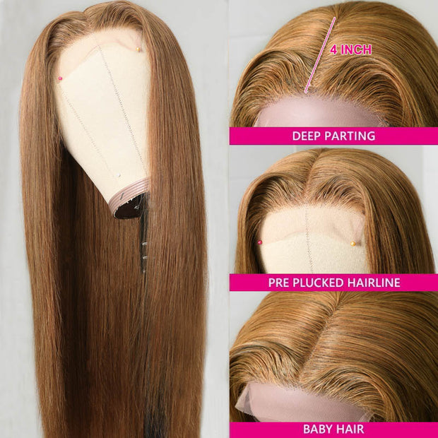 Sunber Trendiest Highlight Ginger Brown 8# Color Long Straight Hand Tied Lace Part Wig Virgin Human Hair Wigs