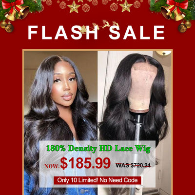 Flash Sale: 5 By 5 Invisible HD Lace Closure Wigs Body Wave 180% Density Human Hair Wigs