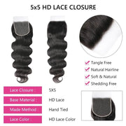 Sunber 5x5 HD Lace Closure Body Wave Hair Deep Parting Transparent Lace Closure Invisible Knots Human Hair Closure