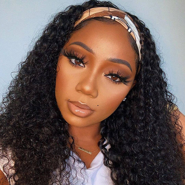 Sunber Jerry Curly Scarf Wigs for Women 100% Virgin Human Hair Wig No Glue & No Sew In Fashion Headband Wig