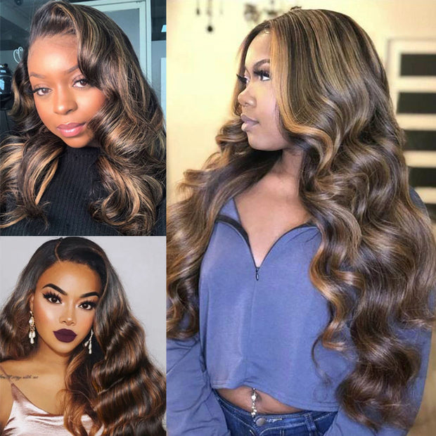 Sunber Highlight Mix Piano #30 Brown Body Wave Human Hair Wigs 4x2 Size U Part Body Wave Hair Wigs For Women