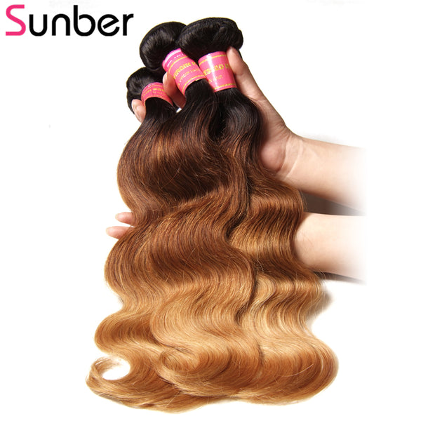 Sunber Hair Peruvian Ombre T1B/4/27 Color Body Wave Hair Weave 3 Bundle Hair Extensions