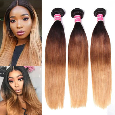 Sunber Hair Malaysian Virgin Straight Hair Ombre 3 Tone Color Human Hair Extensions 3/4 Bundles