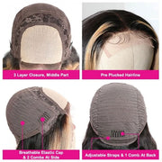 Sunber Highlight Ombre TL27 Color Straight Lace Part Human Hair Wigs Hand Tied Lace Part Wig 150% Density