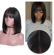 Sunber Hair Short Bob Straight Hair Wig With Bang Human Hair Wig Bob Machine Made 10 Inch 150% Density Natural Color