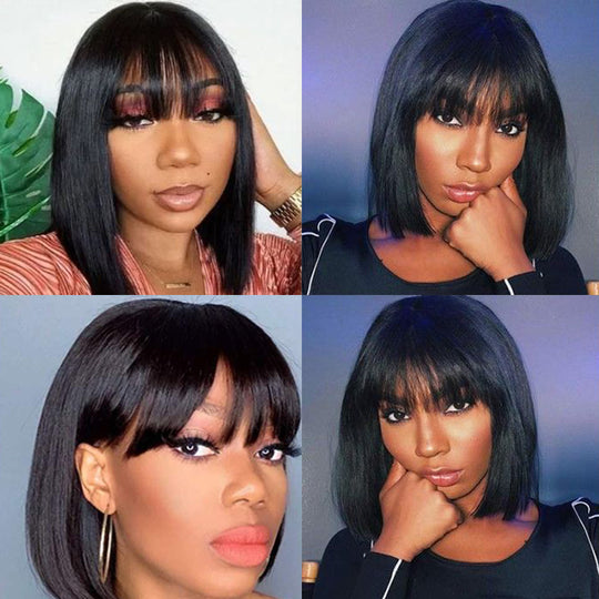 Sunber Short Bob 13*4 Lace Front Wigs Human Hair Wig Silky Straight with Bangs 150% 180% Density For Women