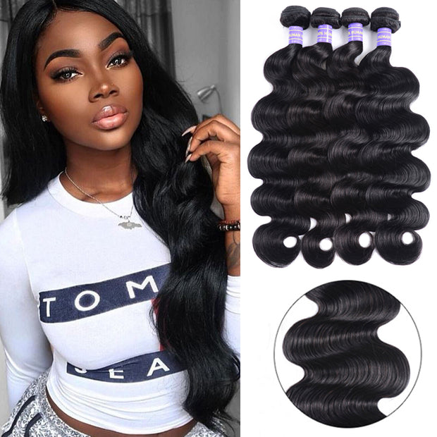 Sunber Hair Brazilian Body Wave 4 Bundles New Remy 100% Human Hair Weaves