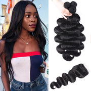 Sunber Hair New Remy Human Hair Malaysian Hair Body Wave 3 Bundles with 1 Piece 4*4 Lace Closure