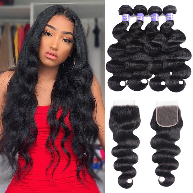 Sunber Hair Remy Human Hair Black Peruvian Body Wave Hair 4 Bundles with Lace Closure 100% Affordable Human Hair