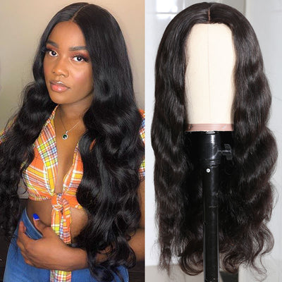 Sunber PU Silk Base Lace Wig Medium Part 4x2 Size Premade Fake Scalp Body Wave Human Hair Wigs For Women